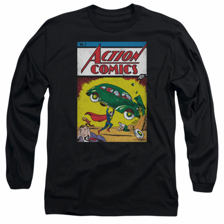 Superman Action Comics #1 Men's Black Long Sleeve Shirt