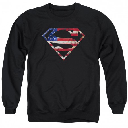 Superman American Flag Logo Crewneck Sweatshirt