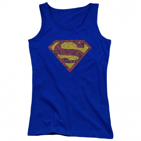 Superman Rose Logo Women's Blue Tank Top