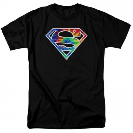 Superman Tie Dye Logo Men's Black T-Shirt