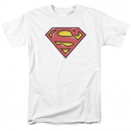 Superman Airbrushed Logo Men's White T-Shirt