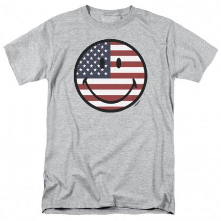 Patriotic American Flag Smiley Face Men's Grey T-Shirt