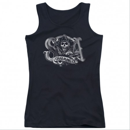 Sons Of Anarchy Charming CA Black Juniors Tank Top