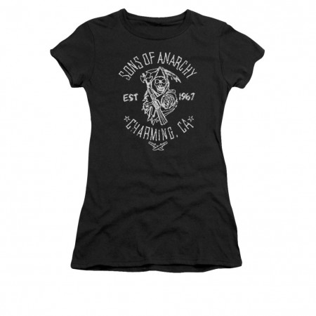 Sons Of Anarchy Fabric Print Black Juniors T-Shirt
