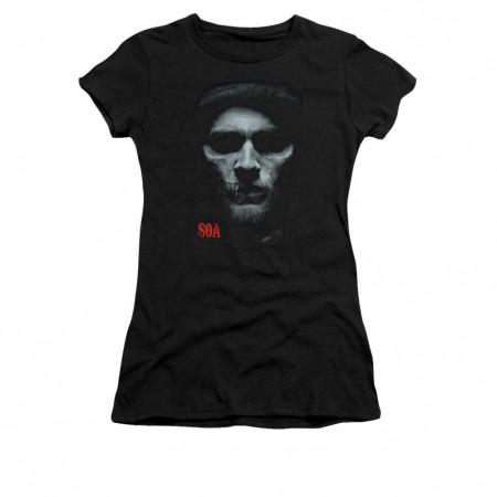 Sons Of Anarchy Skull Face Black Juniors T-Shirt