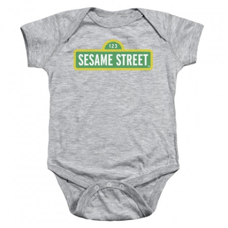 Sesame Street Logo Grey Onesie