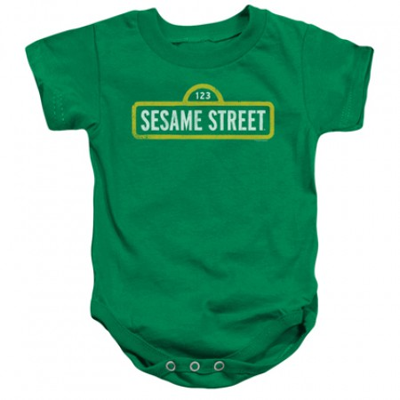 Sesame Street Classic Logo Green Onesie