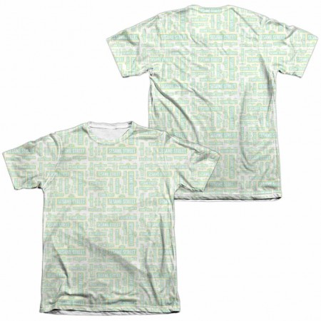 Sesame Street Puzzle Pattern  White 2-Sided Sublimation T-Shirt