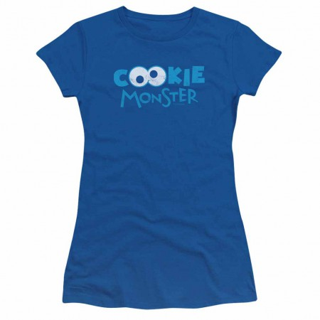 Sesame Street Cookie Eyes Blue Juniors T-Shirt