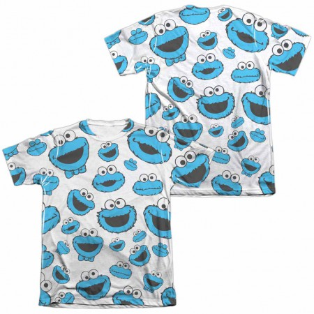 Sesame Street Cookie Face Pattern  White 2-Sided Sublimation T-Shirt