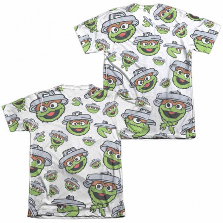 Sesame Street Oscar Face Pattern  White 2-Sided Sublimation T-Shirt