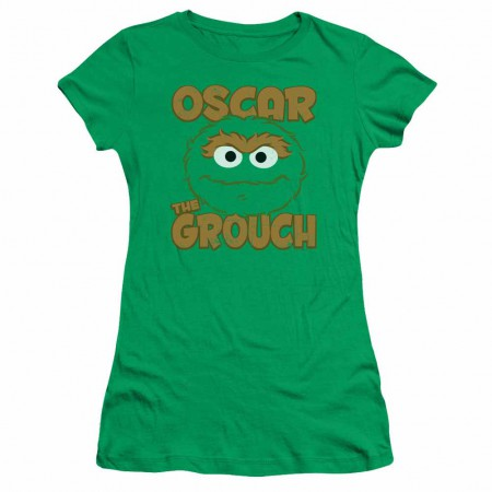 Sesame Street Oscar Sandwich Green Juniors T-Shirt