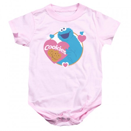 Sesame Street Cookie Monster Love Cookies Pink Onesie