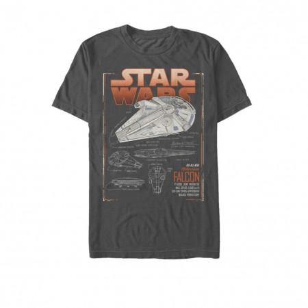 Star Wars Han Solo Story All New Millennium Falcon Schematics Men's Grey T-Shirt