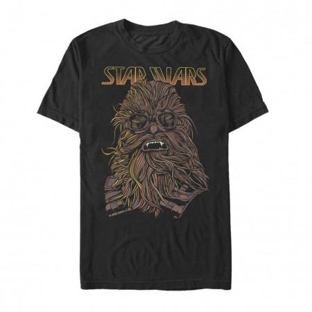 Star Wars Han Solo Story Chewie Hand Drawn Men's Black T-Shirt