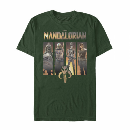 The Mandalorian Character Panels Forest Green T-Shirt