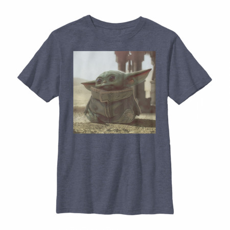 The Mandalorian The Child Navy Blue Youth Sized T-Shirt