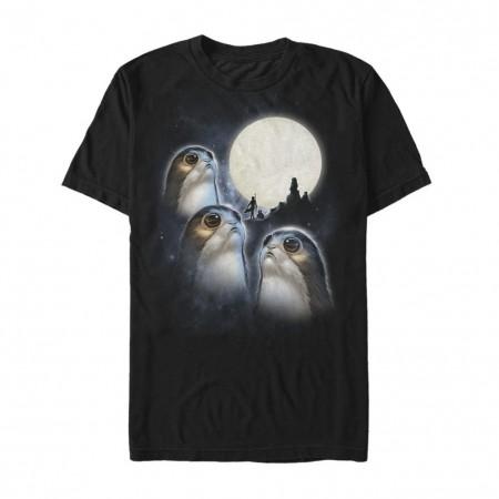 Star Wars Last Jedi Porgs Howling At The Moon Tshirt