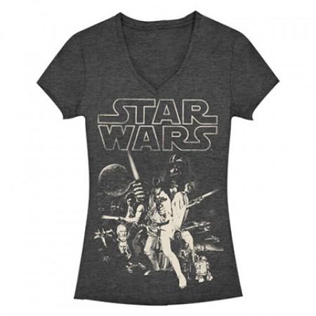 Star Wars Poster Charcoal Heather Juniors T-Shirt