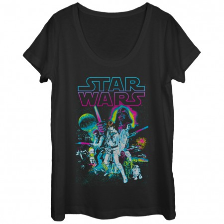 Star Wars Neon Poster Women's Tshirt