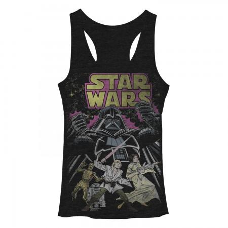 Star Wars Comic Wars Black Juniors Tank Top
