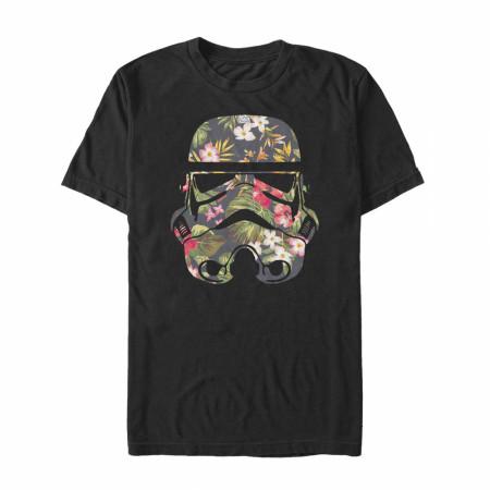 Star Wars Stormtrooper Floral Helmet Black T-Shirt