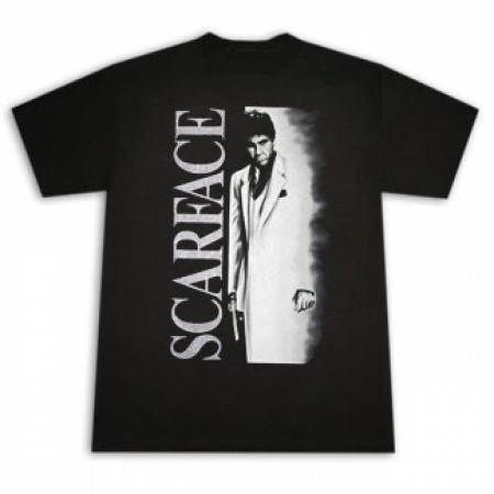 Scarface Airbrush Metallic Poster Black Graphic T-Shirt