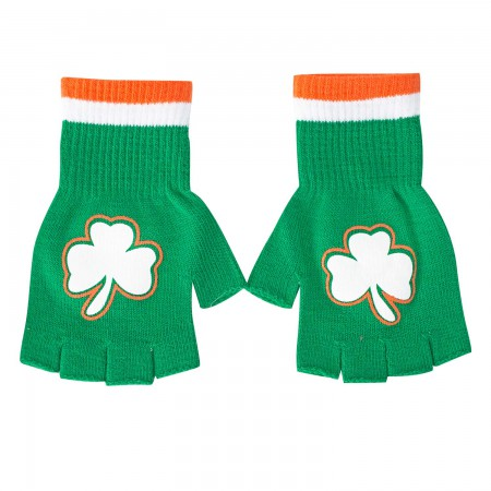 St. Patrick's Day Green Shamrock Fingerless Gloves