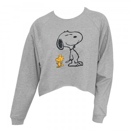 Peanuts Woodstock And Snoopy Cropped Gray High-Low Women's Sweatshirt