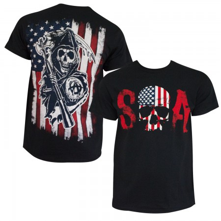 Sons Of Anarchy Men's Black American Flag T-Shirt