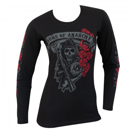 Sons Of Anarchy Women's Black Reaper Rose Long Sleeve Shirt