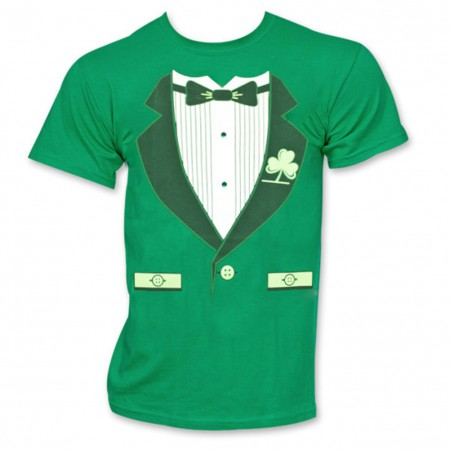 Irish Tuxedo St. Patrick's Day Novelty Graphic Green T-Shirt