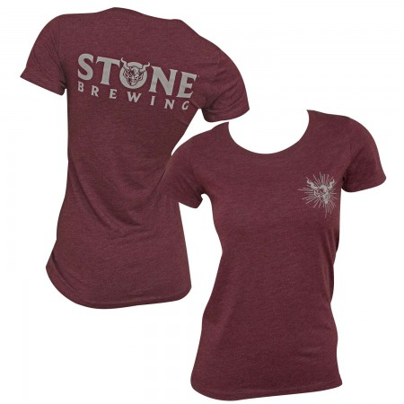 Stone Brewing Logo Women's Burgundy T-Shirt