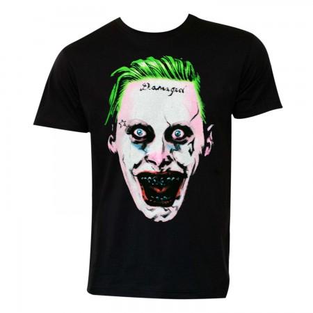 Suicide Squad Men's Black Joker Face T-Shirt