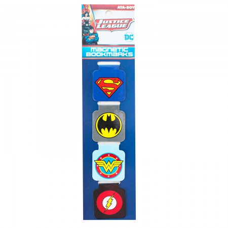 Justice League Superhero Logos Magnetic Bookmarks Set Of 4