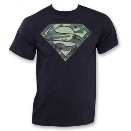 Superman Camo Logo Tee - Black