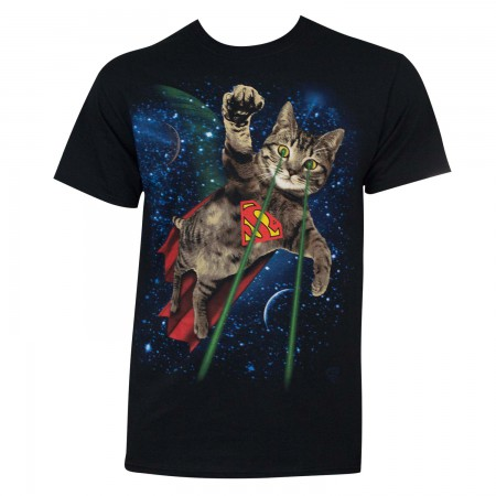 Superman Men's Black Laser Cat T-Shirt