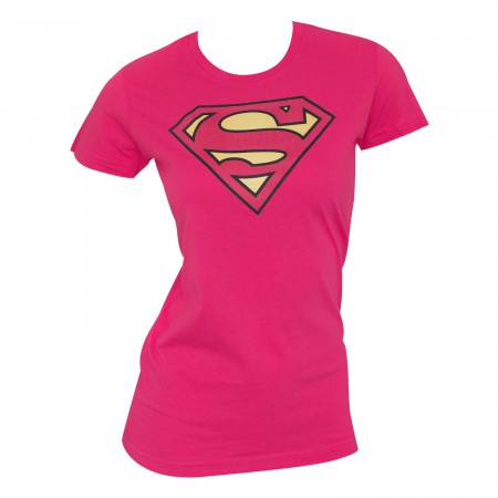 Superman Logo Women's Pink T-Shirt