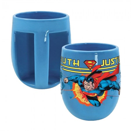 Superman Blue Inverted Handle Superhero Coffee Mug