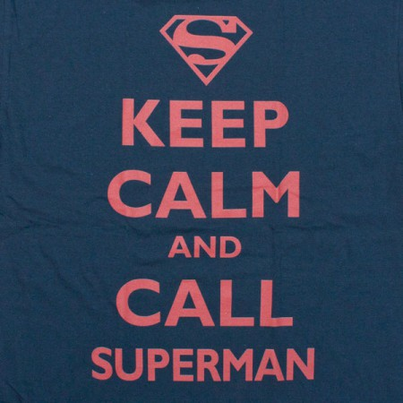 Superman Keep Calm and Call T-Shirt - Blue