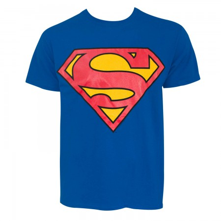 Superman Glow In The Dark Logo Men's Blue T-Shirt