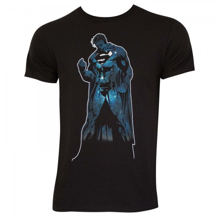 Superman Men's Black Outer Space Silhouette T-Shirt