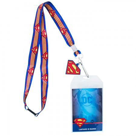 Superman Striped Lanyard Badge Holder
