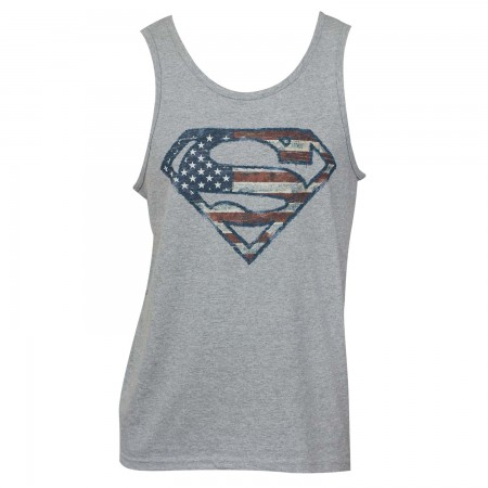 Superman Men's Grey Tank Top With Patriotic Logo