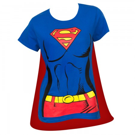 Superman Supergirl Women's Blue Caped Costume T-Shirt