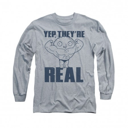 Family Guy Stewie They're Real Gray Long Sleeve T-Shirt