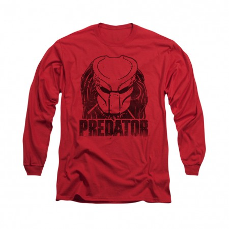 Predator Logo Red Long Sleeve T-Shirt