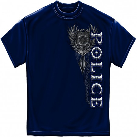 Police Rise Above Fear Foil Blue T-Shirt