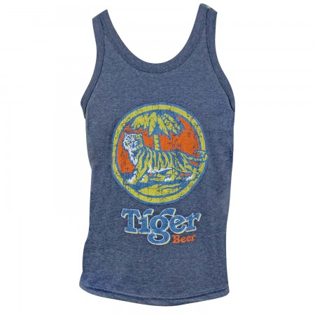 Tiger Beer Distressed Logo Denim Blue Tank Top