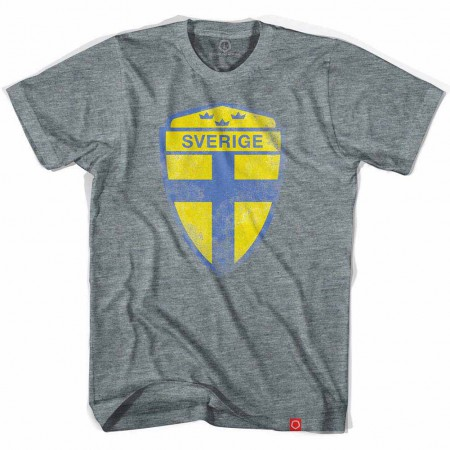 Sweden Sverige Crest Soccer Gray T-Shirt